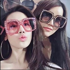 BOUTIQUE Pink Bling Accent Square Sunglasses
